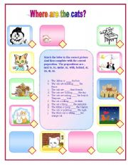 English Worksheets: Where are the cats