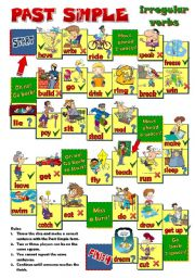 PAST SIMPLE  - irregular verbs BOARD GAME (B&W included)