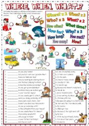 English Worksheet: WHERE, WHEN, WHAT...? - question words (B&W + KEY included)