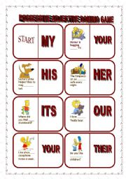 English Worksheet: POSSESSIVE ADJECTIVE DOMINO GAME - EDITABLE - 5 PAGES