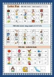 English Worksheets: Letter fun with vowels