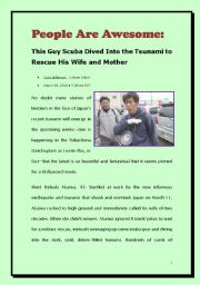 News reading for upper intermediate students- People are awesome (A story happend in the tsunami in Japan)