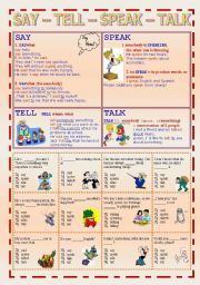 English Worksheet: SAY � TELL � SPEAK � TALK