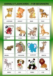 English Worksheets: ANIMALS FLASHCARDS FOR BEGINNER - TWO PAGES