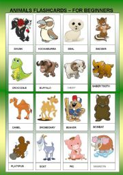 English Worksheets: ANIMALS FLASHCARDS II - FOR BEGINNERS - TWO PAGES
