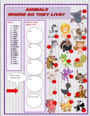 English Worksheets: WHRE DO THESE ANIMALS LIVE?