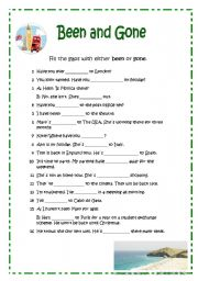English worksheet: BEEN AND GONE