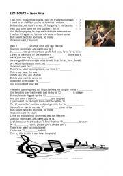 English Worksheets: I�m yours - Jason Mraz
