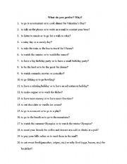 English worksheet: Preferences