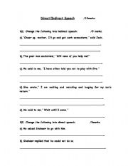 English Worksheets: Direct/Indirect Worksheet