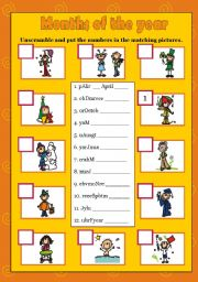 English Worksheet: MONTHS OF THE YEAR - Exercices