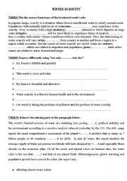 English Worksheet: water scarcity