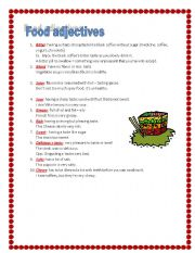 English Worksheet: food adjectives