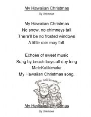 English Worksheet: My Hawaiian Christmas Poem