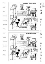 English Worksheet: Aliens search
