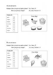English worksheet: I go shopping