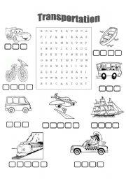 English Worksheet: Transport for kids!! Wordsearch !!