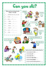 English Worksheet: MODAL VERBS. CAN YOU SKI?