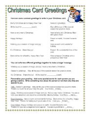 English teaching worksheets Christmas cards