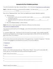 English Worksheet: Leonardo da Vinci website questions