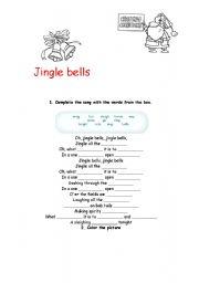 English Worksheet: Jingle Bells - filling the gaps and coloring.