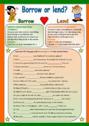 English Worksheets: BORROW OR LEND