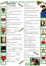 English Worksheets: SONG - MISTLETOE BY JUSTIN BIEBER