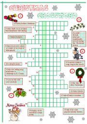 English Worksheet Christmas Crossword