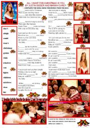 English Worksheets:  ALL I WANT FOR CHRISTMAS IS YOU BY JUSTIN BIEBER AND MARIAH CAREY.