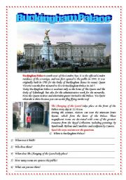 English Worksheet: Postcards from London: Buckingham Palace and the Changing of the Guards