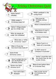 English Worksheet: Quiz - Tricky Christmas Quiz