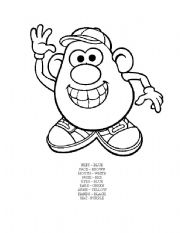 English Worksheet: Mr. Potato Head Colouring Sheet