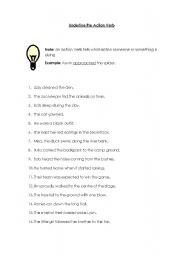 English Worksheets: underline the Action Verb