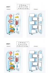 English Worksheet: fridge n�1 group work vocab food + some / any