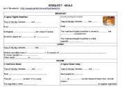 English Worksheet: British meals - food webquest