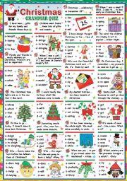 English Worksheets: CHRISTMAS GRAMMAR QUIZ (KEY INCLUDED)