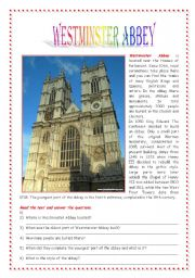 English Worksheet: Postcards from London: Westminster Abbey