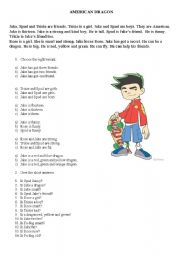 English worksheet: American dragon reading+questions to check understanding