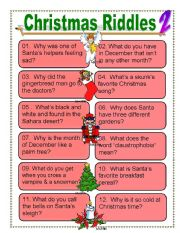 picture relating to Christmas Riddles Printable named Xmas riddles for Anyone - ESL worksheet by way of dturner