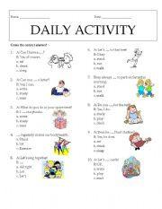 English Worksheets: Daily Activity