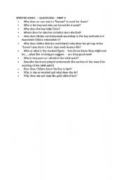 English Worksheets: Spirited Away Film Questions Part  1