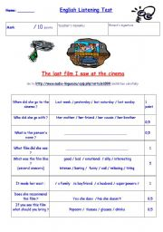English Worksheets: listening activity The last film I saw