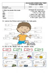 English Worksheet: 2011-2012 EDUCATION YEAR 1st TERM 2nd EXAM FOR 6th GRADE