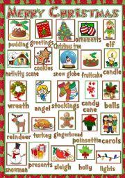 English Worksheet: Christmas - pictionary
