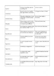English Worksheets: Literary terms - term, definition and example