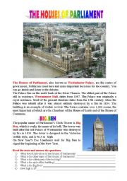 English Worksheet: Postcards from London: The Houses of Parliament and Big Ben