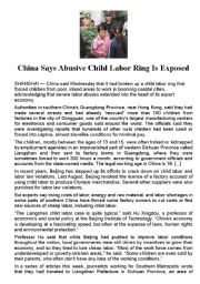 English Worksheet: China : Child Labor Ring Exposed - Written comprehension