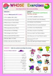 English Worksheet: Whose and clothes