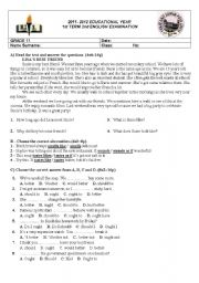 English Worksheets:  2nd Examination for Anatolian High School Grade 11 Classes