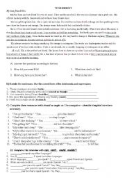English Worksheet: Worksheet for Anatolian High School Grade 11 Students